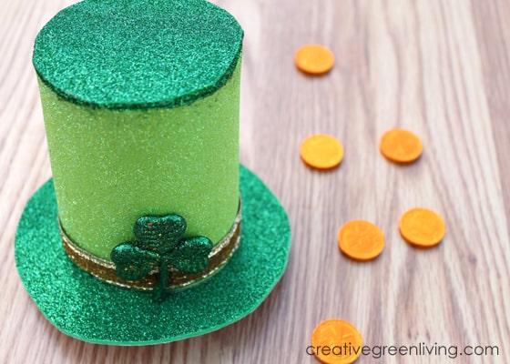 glittery green st patricks day hat idea