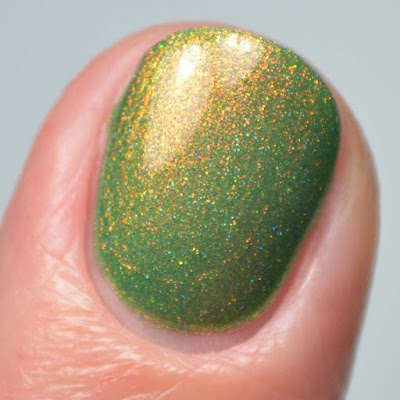 green nail polish with shimmer close up