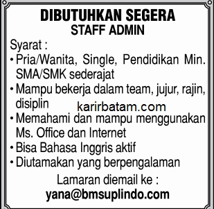 Lowongan Kerja PT. BMS Suplindo Indonesia
