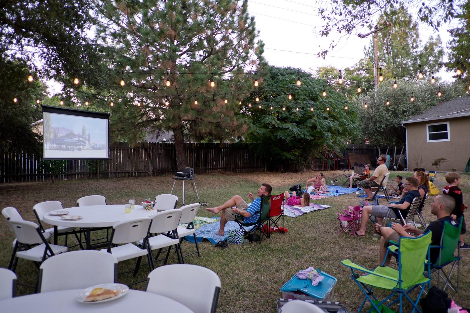 Domestic Fashionista Moms Group Backyard Family Movie Night