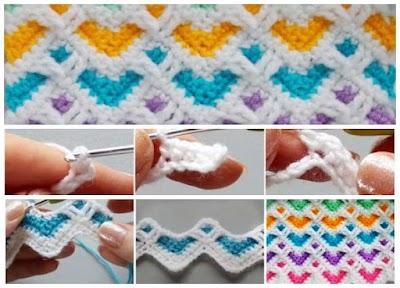 Punto corazones en zigzags tejido a crochet