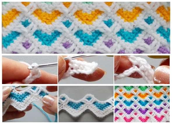 punto corazones, motivos zigzags, tejido a crochet