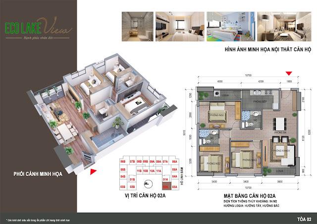 Thiết kế căn hộ 02A tòa HH2 chung cư ECO LAKE VIEW