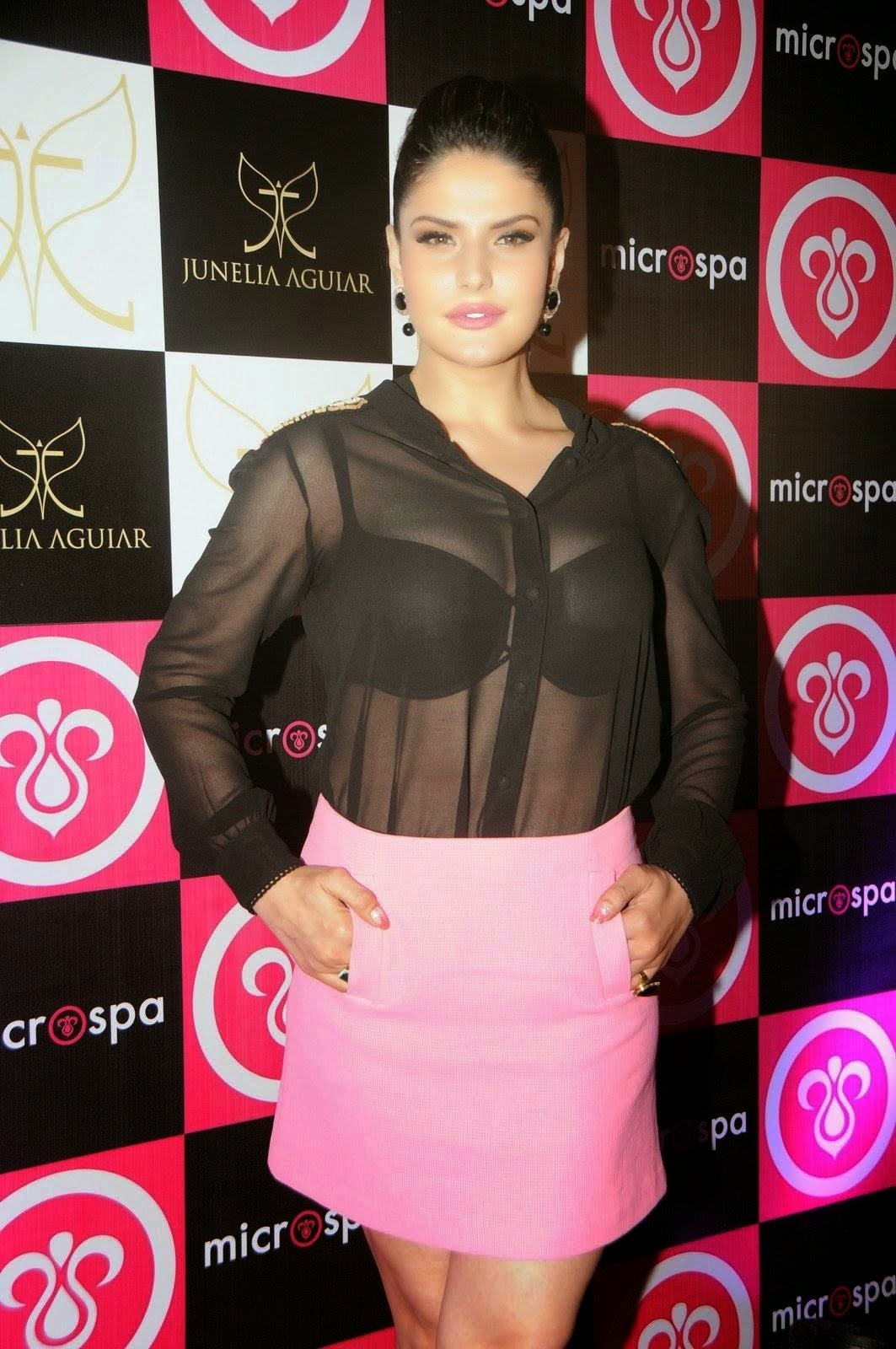 Zarine khan - Showing her Bra In a see through shirt Hot Photos