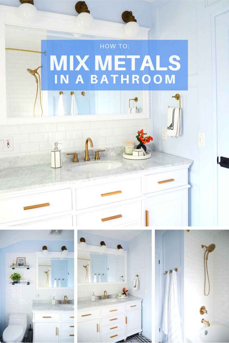 mixing metal finishes, mixing metals in bathroom, brass mixed with black metal