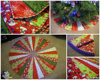 Quilted Christmas Tree Skirt tutorial by Kelsey Keefe at Kai Ta Hetera