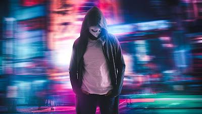 Neon, great exhibition.  Hoodie Guy Mask Man