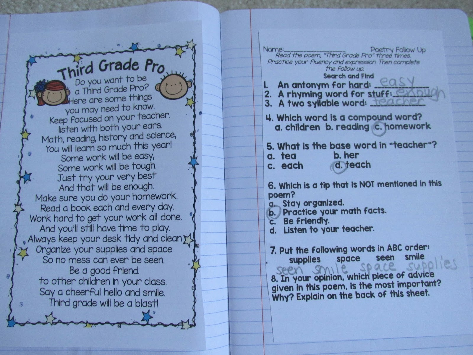 Back To School Poems Setting Up A Poetry Journal