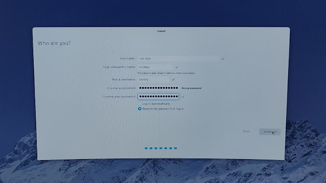 Form user name dan password installasi Zorin