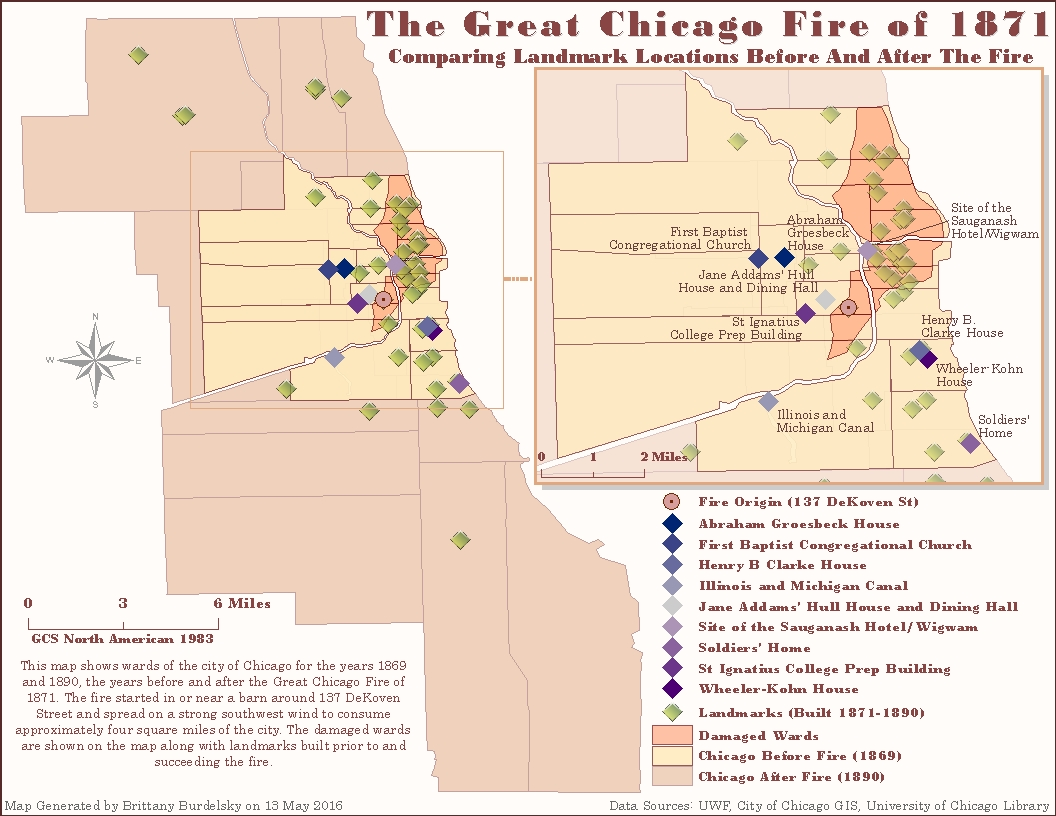 There And Back With Gis Clips And Queries The Great Chicago Fire