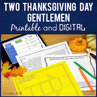 """Struggling to find a good short story for Thanksgiving with your Middle School students? """"Two Thanksgiving Day Gentlemen"""" by O. Henry is what you are looking for and these scaffolded and easy-to-use activities will keep your students engaged and give you a break from planning!"""
