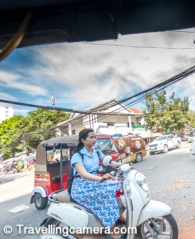 The popular way to commute in Cambodia is Tuk-Tuk and these Tuk-tuks are pulled by none other than bikes. The bike is the vehicle that pulls the main cart which can accommodate 4-6 folks.