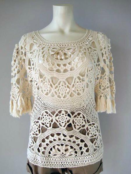 Patrón #1212: Blusa a Crochet