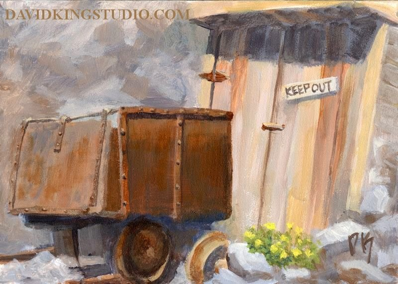 painting art acrylic mine ore car rust