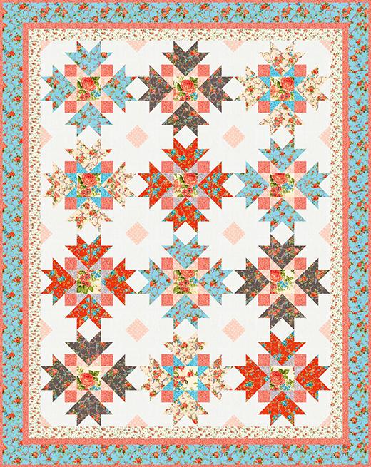 Rose Garden Quilt designed by Ariga Mahmoudlou of Robert Kaufman Fabrics, Featuring Cassandra Fabrics