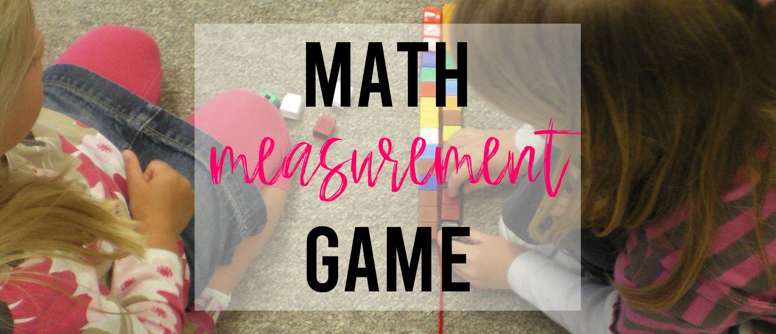 Math measurement game activity for Kindergarten