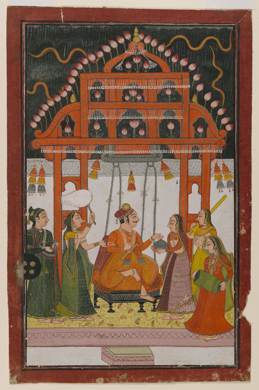 Hindola Raga, Page from a Dispersed Ragamala Series - Miniature Painting, India, Circa 1830