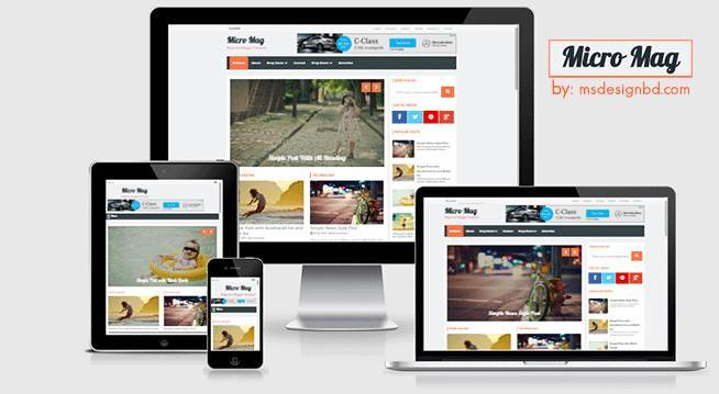 Micro Mag - Responsive  Magazine Blogger Template - News
