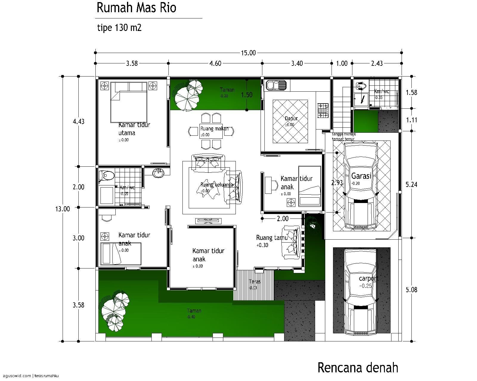 gambar denah rumah sederhana minimalis 2