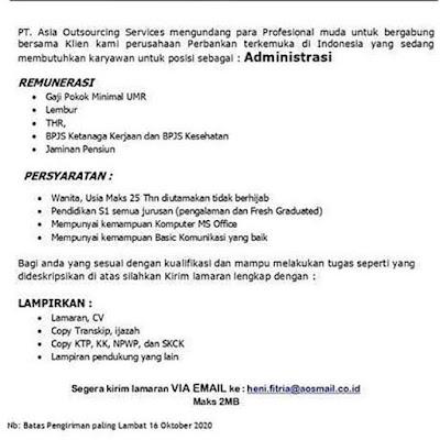 Kerjabatam.com PENGUMUMAN RESMI LOKER PT. Asia Outsourcing Services