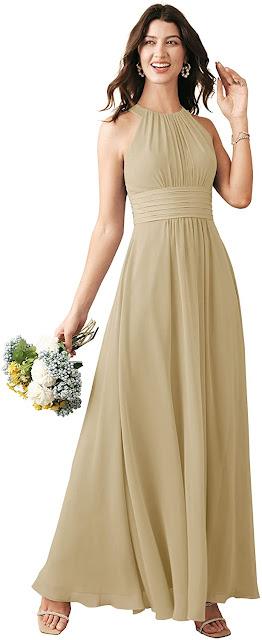 Gorgeous Chiffon Halter Bridesmaid Dresses