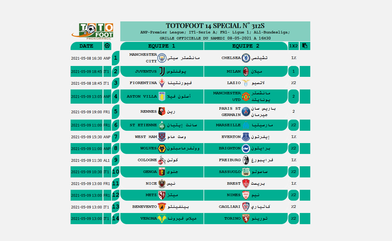 PRONOSTIC TOTOFOOT 14 SPECIAL N° 312S