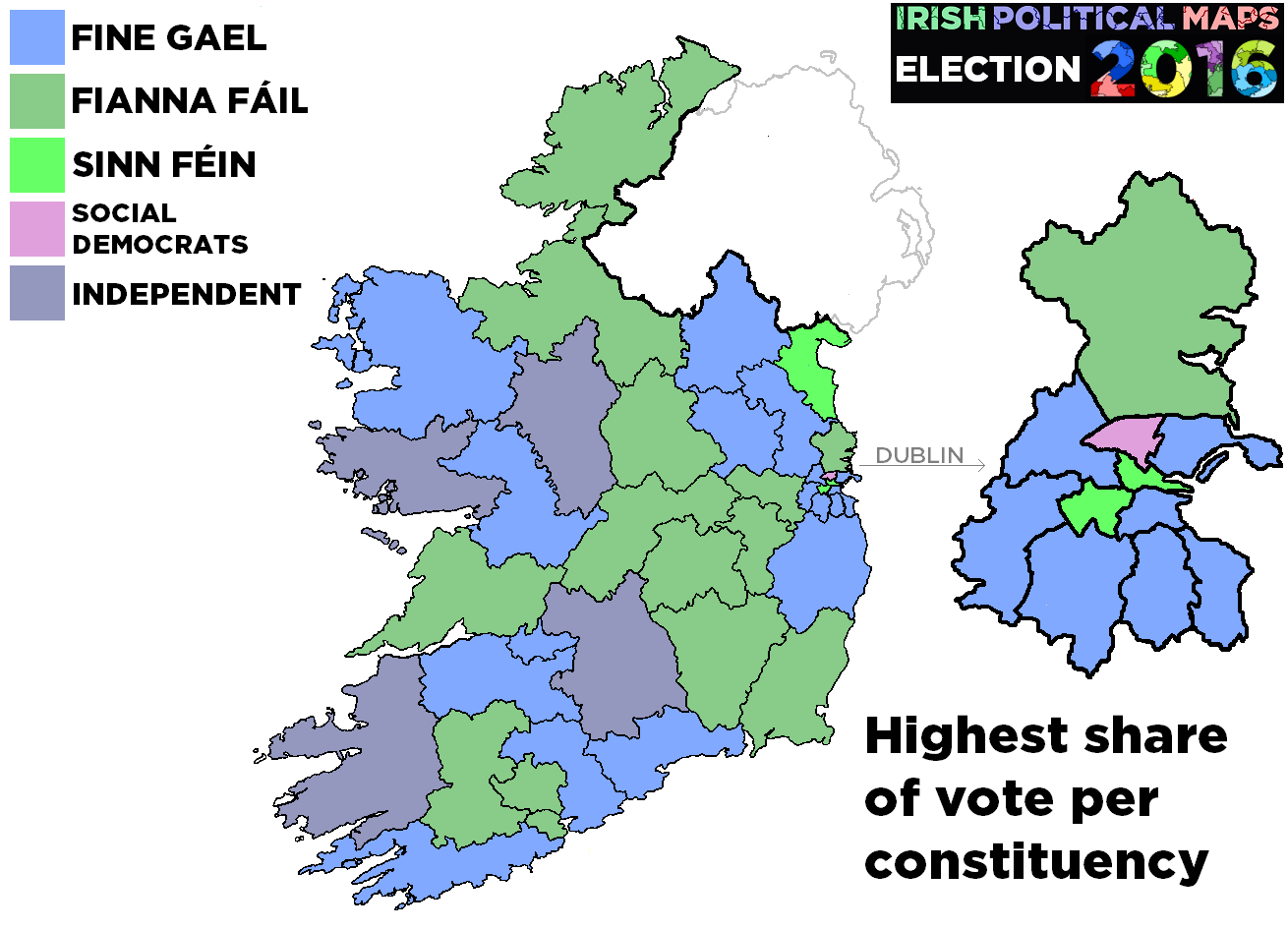 Irish Political Maps General Election 2016