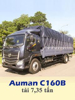 xe tải thaco auman c160b tải 7,5 tấn thùng 8,2 mét