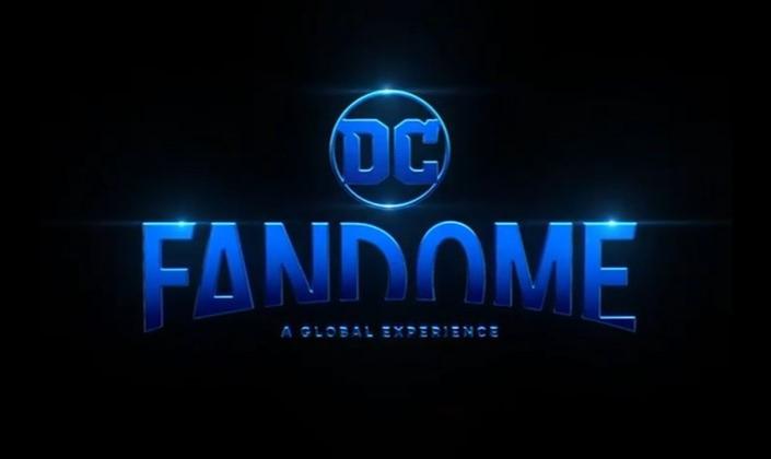 Imagem de capa: fundo preto com a logo do DC Fandome, o título em fonte metálica e azul, surgindo por trás do que parece ser um círculo preto, como se fosse o sol nascendo, e acima o logo da DC, também em azul.