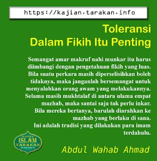 Toleransi Dalam Fikih Itu Penting - Qoutes - Kajian Islam Tarakan