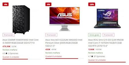 Top 10 ofertas en productos Asus de PcComponentes