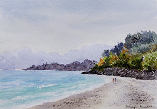 A water colour study of a seashore from Goa on Arto Campap paper