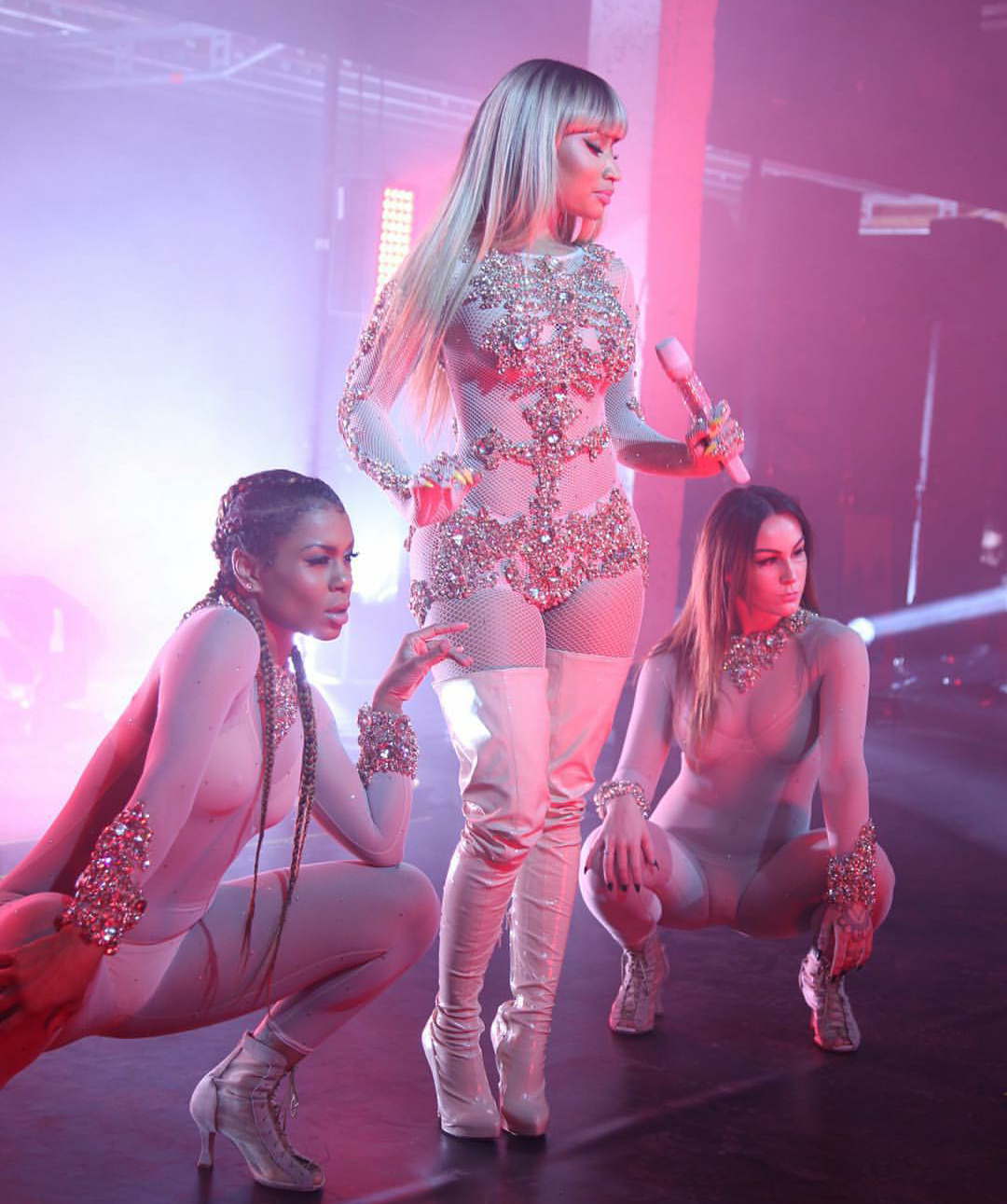 minaj nicki catsuit super givenchy performed italy boots concert 12naija photoshoots welcome rapper rocked really looks sweet had cut
