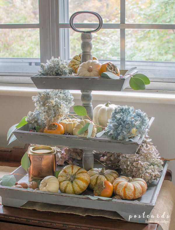 wooden 3 tier tray decorated for fall