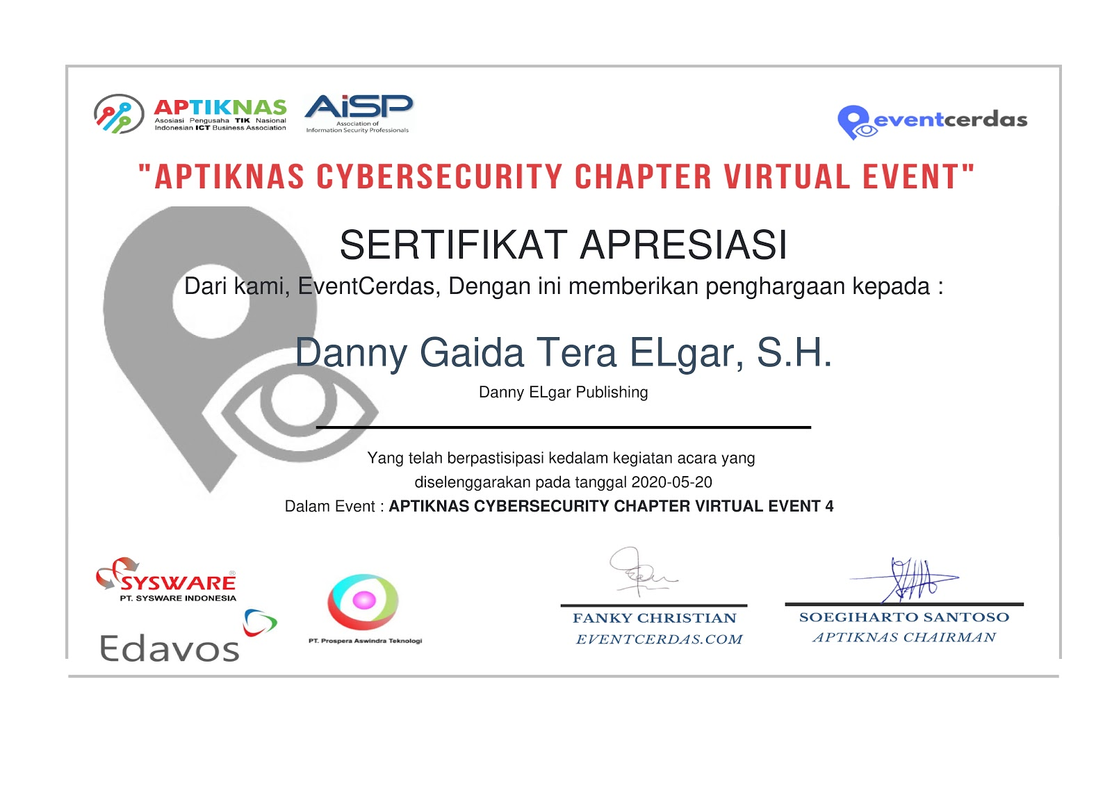 "Sertifikat Apresiasi ""APTIKNAS CYBERSECURITY CHAPTER VIRTUAL EVENT 4"" (Danny ELgar Publishing)"