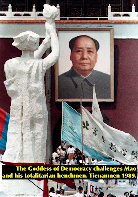 Goddess of Democracy faces Mao on Tienanmen Square, 1989