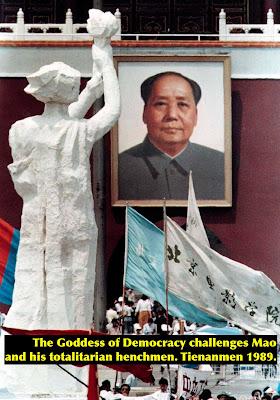 Goddess of Democracy faces Mao on Tienanmen Square, 1989