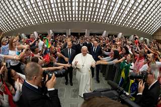 Pope Francis arrives for an audience with members of the Catholic Charismatic Renewal International Service in Paul VI hall at the Vatican June 8, 2019. (CNS photo/Vatican Media handout via Reuters)