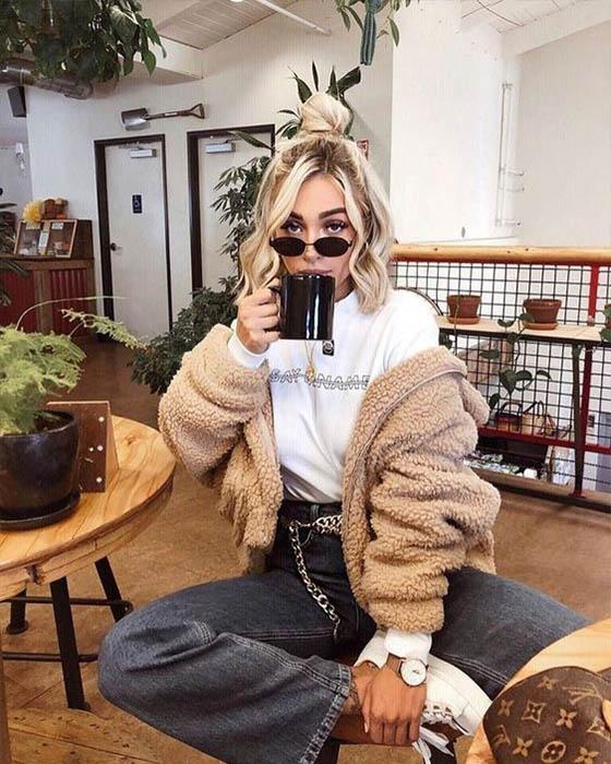 foto tumblr bebiendo café invierno