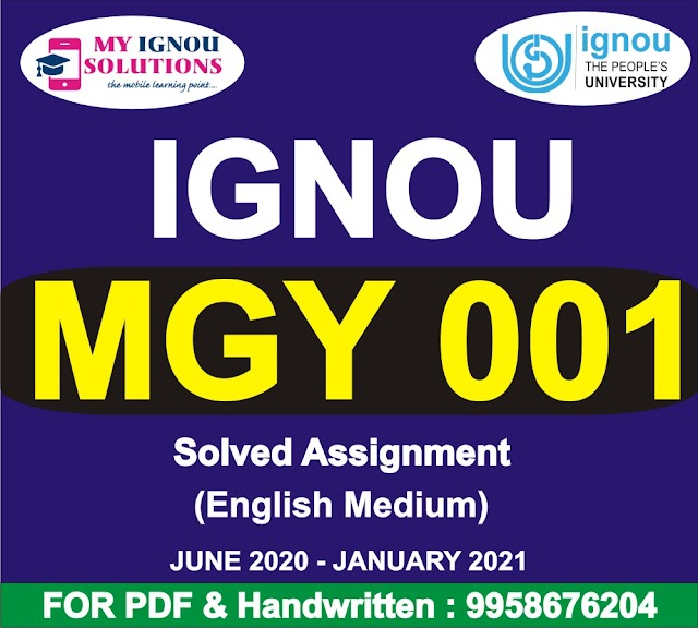 MGY 001 Solved Assignment 2020-21