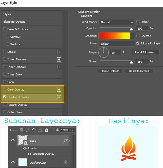 Cara merubah warna gambar menggunakan Blending Options