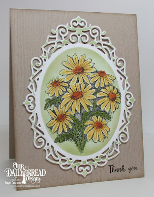 ODBD Custom Ornate Ovals Dies, ODBD Daisy, ODBD Wood Background, ODBD Forever Friends, Card Designer Angie Crockett