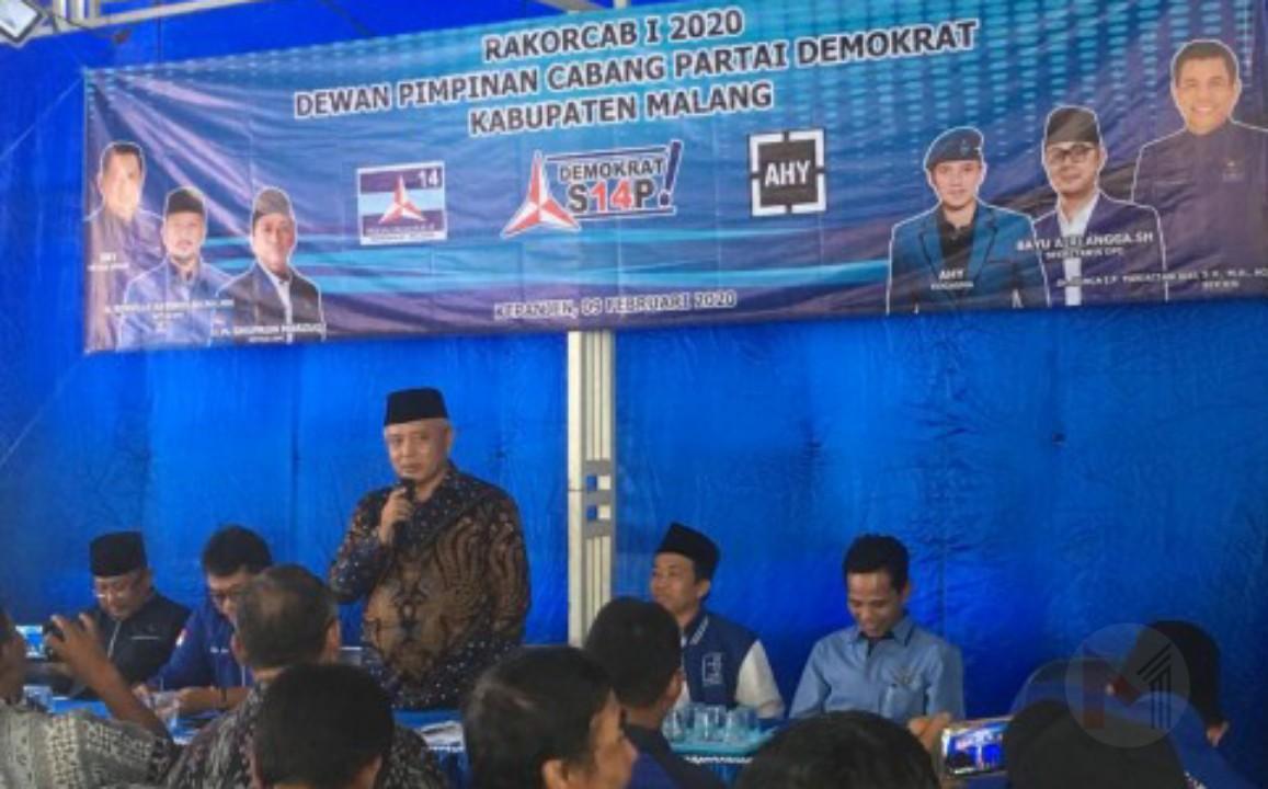 Jelang Pilkada Kabupaten Malang, HM Sanusi Hadiri Rakorcab DPC Demokrat Kabupaten Malang