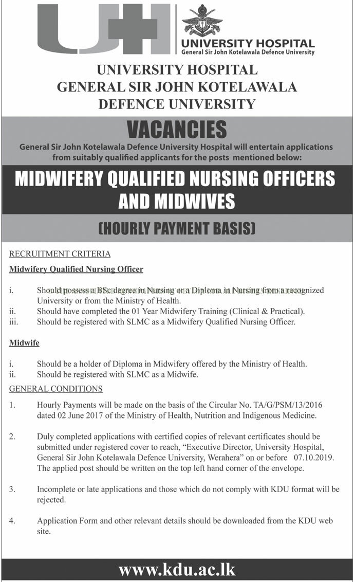 Vacancies for Midwifery Qualified Nursing Officers