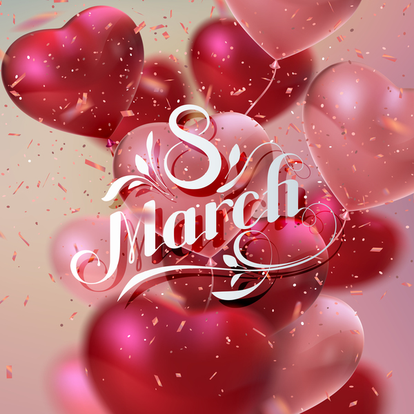woman day 8 march women's day card with heart shape balloons free vector