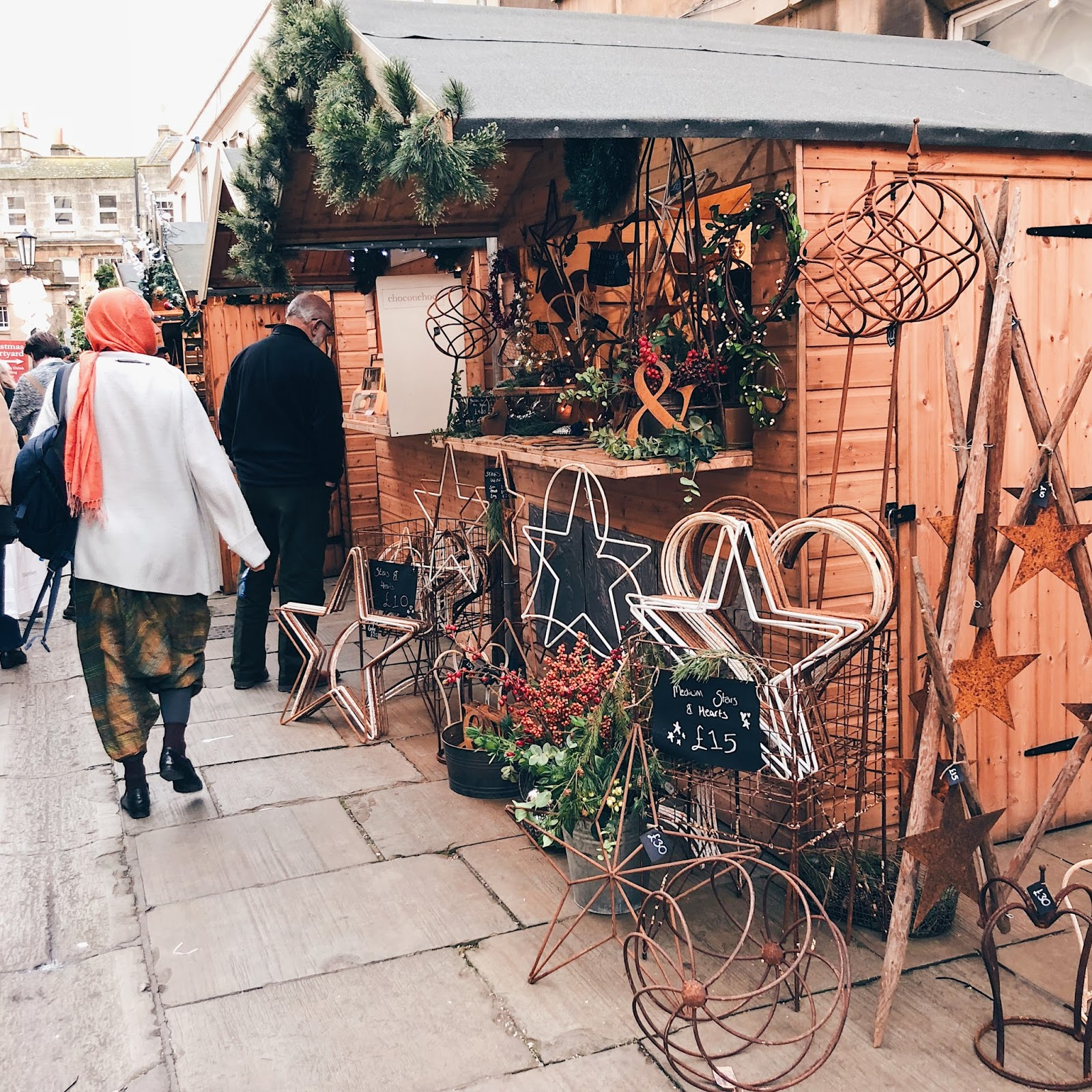 Stalls at Christmas market in Bath