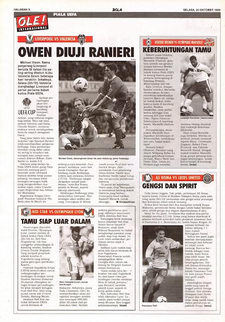 UEFA CUP 1998 MICHAEL OWEN LIVERPOOL VS VALENCIA