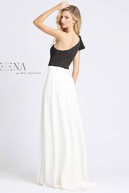 One Shoulder Evening Dress Mac Duggal Ieena Black/white dress back Side