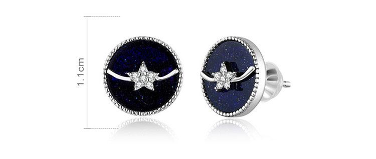 氣質星空藍砂石 925純銀耳環