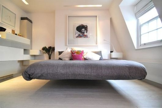 Floating bed with clean decor